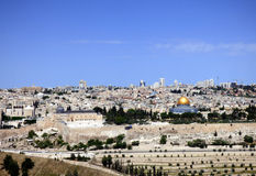 Panorama of the Temple Mount, Al Aqsa Mosque, the Old City and t. He modern Jerusalem skyline, seen from the Mount of Olives, Jerusalem, Israel Stock Images