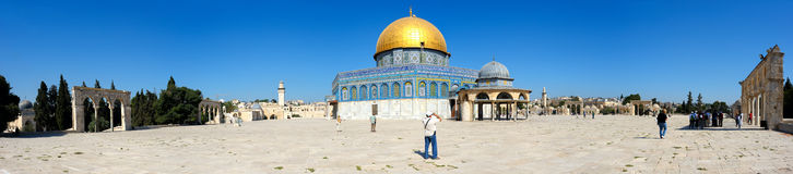 Panorama of Temple Mount and Dome of the Rock. Royalty Free Stock Photography
