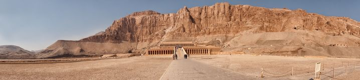 Panorama of the Temple of Queen Hatshepsut Royalty Free Stock Photography
