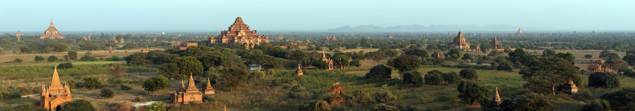 Panorama: Temples in Bagan , Myanmar. Royalty Free Stock Image