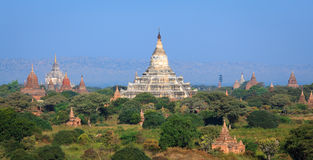Panorama the Temples of bagan at sunrise, Myanmar Royalty Free Stock Photography
