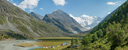 Panorama of the tent camp near the lake Akkem. Trekking in the Altai Mountains Stock Photo