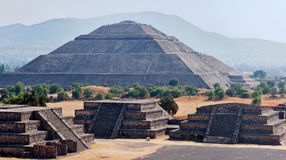 Panorama of Teotihuacan Pyramids Stock Images