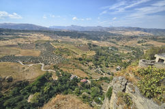 Panorama from the terrace of Ronda Stock Image