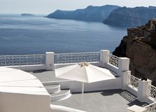 Panorama terrace of Santorini caldera Royalty Free Stock Photography