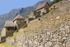 Panorama - Terraced fields and guardian huts Stock Image