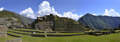 Panorama of Terraces at Macchu Picchu Stock Images