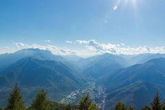 Panorama of terre di pedemonte and Centovalli from cimetta stock photo
