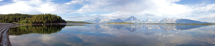 Panorama of Teton Mountains from Jackson Lake Dam Royalty Free Stock Images