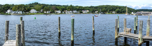 Panorama, Thames river. With wooden piers and wharfs, Thames river with wooden piers and wharfs, Old Mystic Seaport, Connecticut Stock Photo