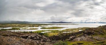 Panorama Thingvellir park narodowy na Iceland Obraz Stock