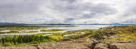 Panorama Thingvellir park narodowy na Iceland Zdjęcia Royalty Free