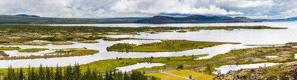 Panorama Thingvellir park narodowy na Iceland Zdjęcie Royalty Free