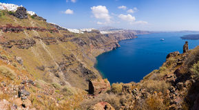 Panorama of Thira in Santorini island, Greece Stock Image