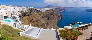 Panorama of Thira in Santorini island, Greece Royalty Free Stock Image