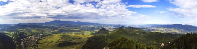 Panorama from the Three Crowns peak in Pieniny. royalty free stock photo