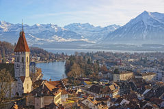 Panorama of Thun Church and Town with Alps and Thunersee Royalty Free Stock Photos