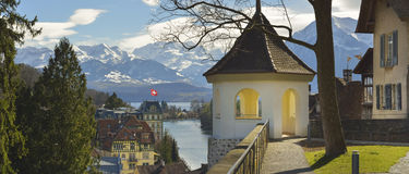 Panorama of Thun Church and Town with Alps and Thunersee Royalty Free Stock Images
