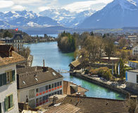 Panorama of Thun Church and Town with Alps and Thunersee Royalty Free Stock Photo