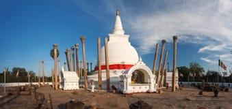Panorama of Thuparama Dagoba with beautiful columns, Anuradhapura Stock Photos