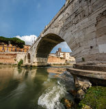 Panorama of Tiber Island and Cestius Bridge over Tiber River Royalty Free Stock Photos