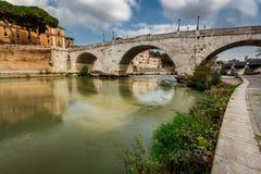 Panorama of Tiber Island and Cestius Bridge over Tiber River Stock Image