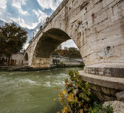 Panorama of Tiber Island and Cestius Bridge over Tiber River Royalty Free Stock Image
