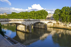 Panorama of Tiber Island and Cestius Bridge over Tiber River, Rome, Italy. Beautiful European River Bridge. River Tiber and Rome ancient architecture, Italy Royalty Free Stock Photo
