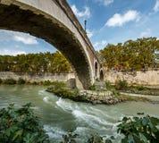 Panorama of Tiber Island and Fabricio Bridge over Tiber River Stock Photo