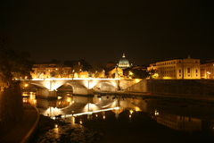 Panorama of the Tiber by night Royalty Free Stock Images
