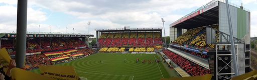 PANORAMA TIFO RC LENS - ANGERS FOOTBALL, STADIUM FELIX BOLLAERT - DELELIS, FRANCE Royalty Free Stock Images