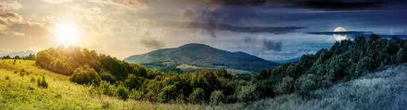 Panorama of time change in mountainous Royalty Free Stock Photo