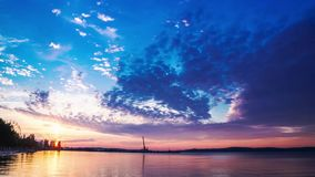Panorama time lapse of sunset on the lake stock footage