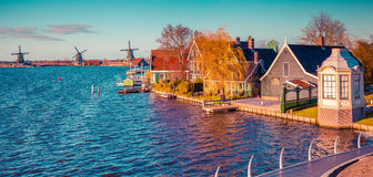Panorama of the tipical Dutch village Zaanstad in spring sunny d royalty free stock photos
