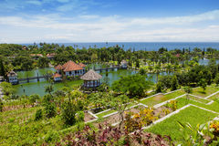 Panorama of Tirtagangga Taman Ujung water palace on Bali. Panorama of Tirtagangga water Palace Taman Ujung Bali, Sunny day, ocean view Royalty Free Stock Photo