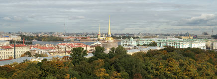 Panorama to Admiralty and Winter palace Stock Photo