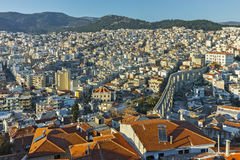Panorama to aqueduct in Kavala, East Macedonia and Thrace Royalty Free Stock Photography