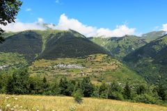Aran valley in the Catalan Pyrenees, Spain. Panorama to Aran valley in the Catalan Pyrenees, Spain Stock Photography