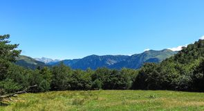 Aran valley, mountainous border in Spain and France, in the Cata. Panorama to Aran valley, mountainous border in Spain and France, in the Catalan Pyrenees, Spain Royalty Free Stock Photography