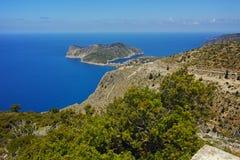 Panorama to Assos village, Kefalonia, Ionian Islands, Greece Royalty Free Stock Image