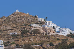 Panorama to Chora town in Ios Island, Greece Royalty Free Stock Image