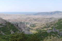 Panorama to the Crimean mountains and the Black Sea on a clear day. For your design Stock Photos