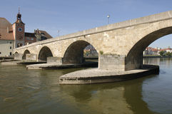 A panorama to german town regensburg Stock Images