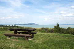 Panorama to Lake Balaton. Beautiful panorama to Lake Balaton and extinct volcanoes.(Hungary Stock Photo