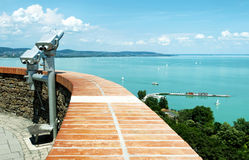 Panorama to Lake Balaton from Tihany Peninsula Royalty Free Stock Image