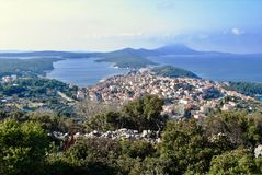 Panorama to Mali Losinj city portand harbour. Panoramic view from the hill above city of Mali Losinj place on island Losinj in Croatia Stock Images