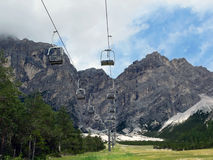 Panorama to the mountains. Panorama to the funicular and mountains Royalty Free Stock Image
