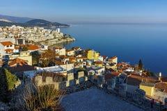 Panorama to old town of Kavala, Greece Stock Photos