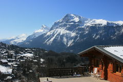 Panorama to Pointe Percee, French Alps Royalty Free Stock Photography