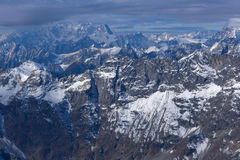 Panorama to Swiss Alps from matterhorn glacier paradise to Alps, Switzerland Royalty Free Stock Photos